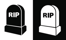 Tombstone Icon Flat Graphic Bl...