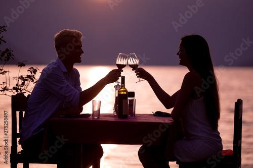 Deurstickers Graffiti collage Happy couple on summer evening having romantic dinner outdoor