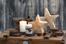 Hygge Still Life With Candles And Stars