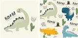 Fototapeta Dinusie - set of cute dinosaur print and seamless pattern with dinosaurs. vector illustration