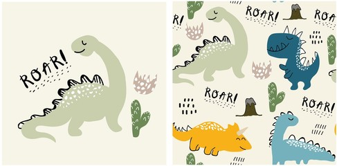 set of cute dinosaur print and seamless pattern with dinosaurs. vector illustration