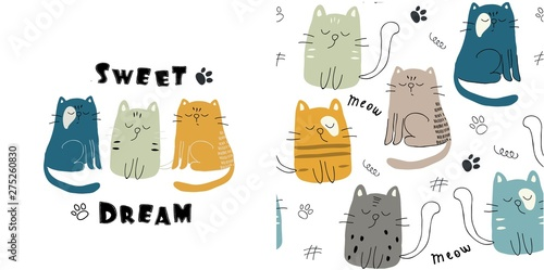 Fotomural set of cute cat print and seamless pattern with cats. vector