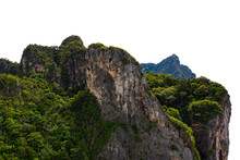 Big Mountain Green And Cliff Rock Stone On White Background