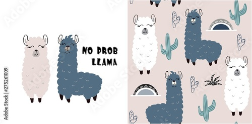 Photo  set of cute llama print and seamless pattern with llamas. vector