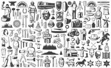Vintage People Professions Elements Set