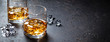 canvas print picture - Glasses of whiskey with ice
