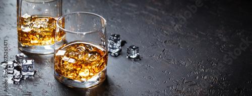 Fotografie, Obraz  Glasses of whiskey with ice