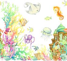 Watercolor, Underwater World, Background, Seamless Pattern
