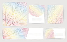 Set Backgrounds With Colorful Leaves. Vector Illustration