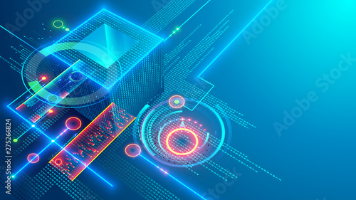Obraz Digital background. Cube or box consists matrix of digits. Block chain of abstract finance data, business graphic. Blockchain fintech technology and mining cryptocurrency conceptual internet banner. - fototapety do salonu