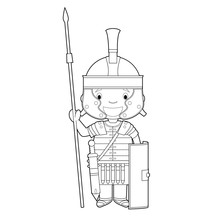Easy Coloring Cartoon Character From Italy Dressed In The Traditional Way As A Roman Legionary. Vector Illustration.