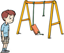 Boy And A Broken Swing At The Playground