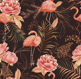 Fototapeta Fototapety do pokoju - Hand drawn watercolor seamless pattern with pink flamingo, peony and decorative plants. Repeat background illustration