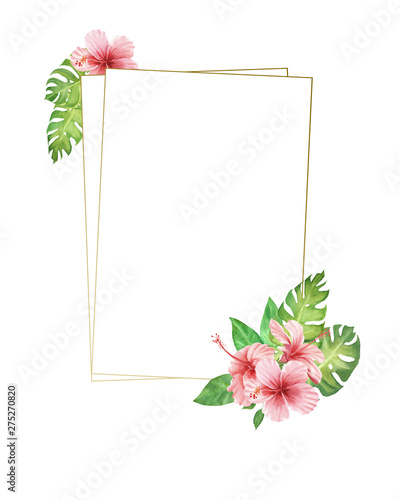 Hand Painted Watercolor Border Frame Pink Tropical Flowers And Leaves Monstera Leaves And Hibiscus Bouquet Empty Space For Text Template For Design Wedding Invitation Greeting Card Buy This Stock Illustration And