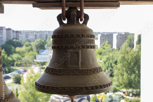 Vintage bell. Close-up view from belfry Fototapeta