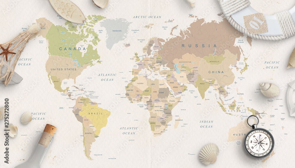 Fototapety, obrazy: Sea, travel things on world map conposition. Copy space in the middle. Top view, flat lay.