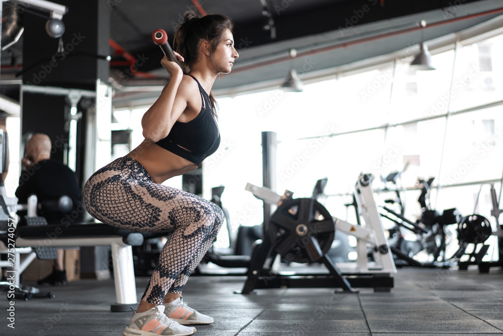 Fototapety, obrazy: beautiful muscular fit woman exercising building muscles