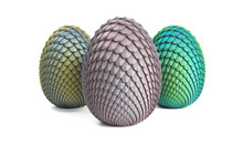 Dragon Eggs 3d Render On A Gra...