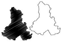 Harghita County (Administrative Divisions Of Romania, Centru Development Region) Map Vector Illustration, Scribble Sketch Harghita Map