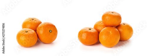 fresh tangerines isolated on white background - 275274816