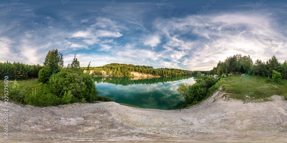 Fototapety, obrazy: full seamless spherical hdri panorama 360 degrees angle view on limestone coast of huge green lake or river near forest in summer day with beautiful clouds in equirectangular projection, VR content