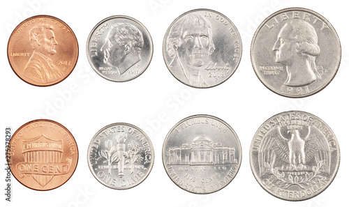 Fototapeta Four most commonly used American Coins isolated on white background obraz