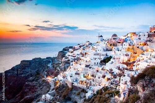 Foto auf Leinwand Santorini amazing view of Oia town at sunset in Santorini, Cyclades islands Greece - amazing travel destination