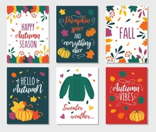 Autumn Cards Set With Quotes, Pumpkins, Leaves And Sweater. Hand Drawn Fall Vector Greeting Cards Illustrations. Pumpkin Spice And Everything Nice. Hello Fall. Sweater Weather. Autumn Vibes