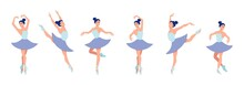 Set Of Dancing Ballerinas In Flat Style Isolated On White Background. Cartoon Ballerina Character With Different Dance Poses And Emotions. Vector Illustration