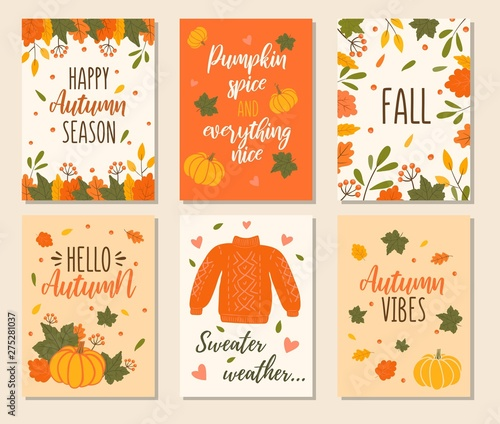 Autumn cards set with quotes, pumpkins, leaves and sweater ...