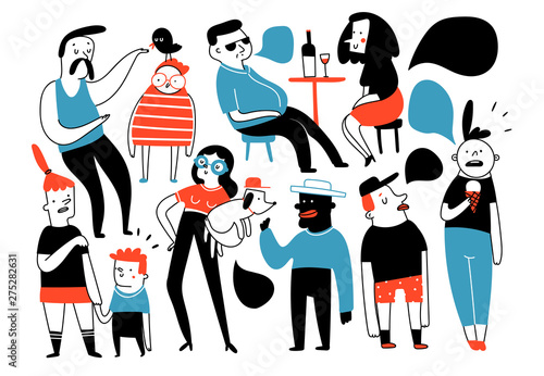 Various doodle people doing stuff. Different cute funny characters in conversation. Kids, adults. Hand drawn vector set. Colored trendy illustration. Flat design. Cartoon style. Everything is isolated