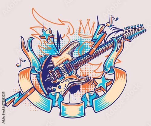 Plakaty Instrumenty Muzyczne   rock-and-roll-funky-guitar-and-ribbon-graffiti
