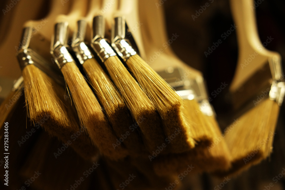 Fototapety, obrazy: paint brushes for repair in the store