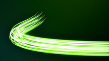 Abstract Futuristic Dynamic Green Neon Stream. Digital Data Flow Lines With Power Optical Light Cable. Connectivity And Information Transfer Technology Concept 3D Illustration