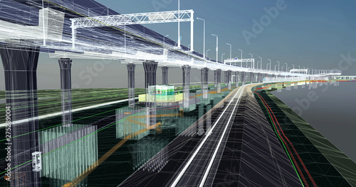 Fotografía  The BIM model of the object of transport infrastructure of wireframe view
