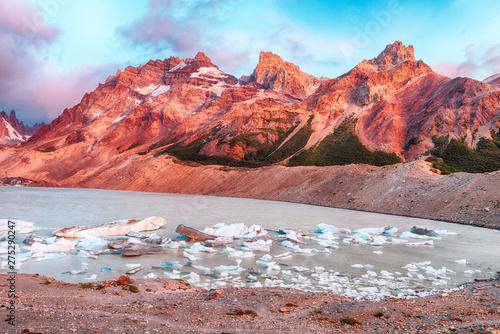 Cerro Torre and icebergs at Laguna Torre