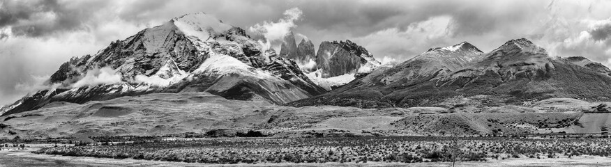 Torres del Paine peaks coming from clouds