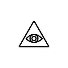 All Seeing Eye Line Icon. Human Eye In Triangle. Finance Concept. Vector Illustration Can Be Used For Topics Like Prediction, Forecast, Magic