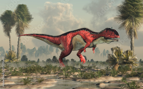 Photo  A red and white Rajasaurus with black stripes in a prehistoric swamp