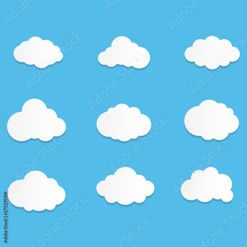 Poster Ciel Set of Cloud Icons with flat style in blue sky background. Copy space. Speech Bubble, White blank hanging..