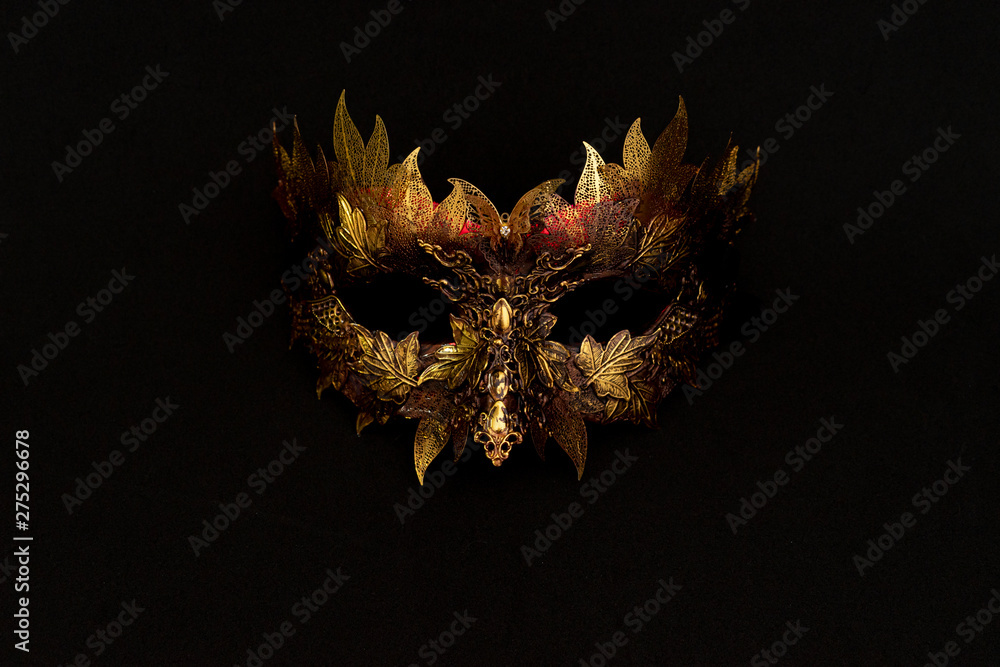 Fototapety, obrazy: Cosplay, Venetian mask in gold and red with metallic pieces in the form of leaves. original and unique design, handmade crafts