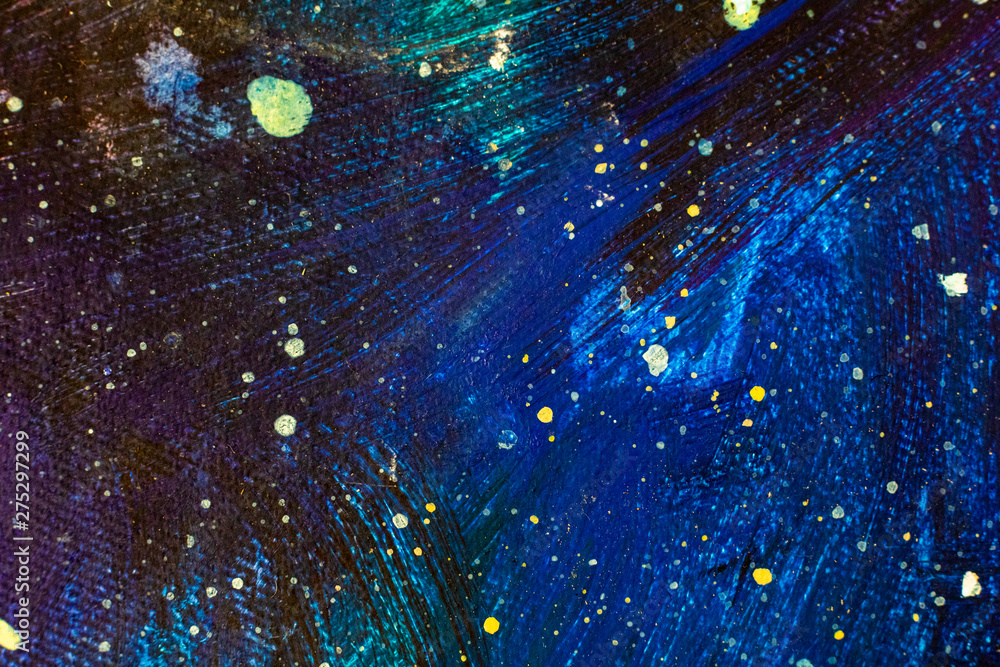 Fototapeta Beautiful night starry sky, Blue Cosmos, galaxy, stars - enlarged fragment of acrylic painting on canvas. Colorful space background artwork. Colorful Impressionism. Art