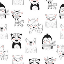 Vector Seamless Pattern With Cute Hand Drawn Animals