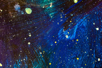 Beautiful night starry sky, Blue Cosmos, galaxy, stars - enlarged fragment of acrylic painting on canvas. Colorful space background artwork. Colorful Impressionism. Art