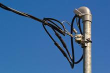 House Power Line Pole And Blue...