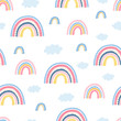 Seamless pattern with rainbow, clouds and hand letters focus on the good for kids. Pattern in cartoon style for poster, fabric, wallpaper, textile. Vector