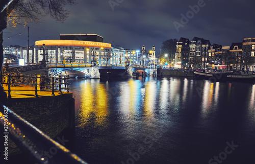 Photo  Amsterdam at night, the Netherlands.