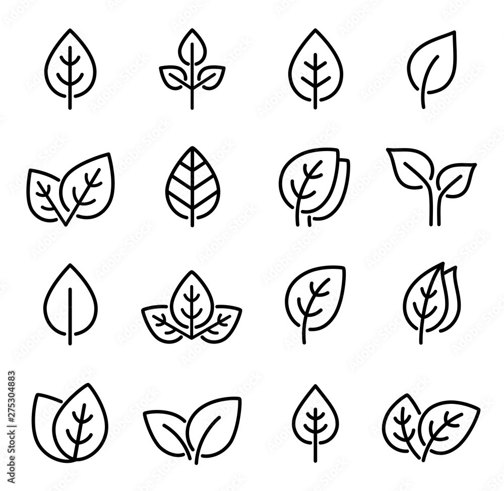 Fototapety, obrazy: set of line leaf icons