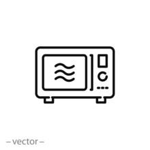 Microwave Icon, Oven Safe, Line Symbol On White Background - Editable Stroke Vector Illustration Eps10