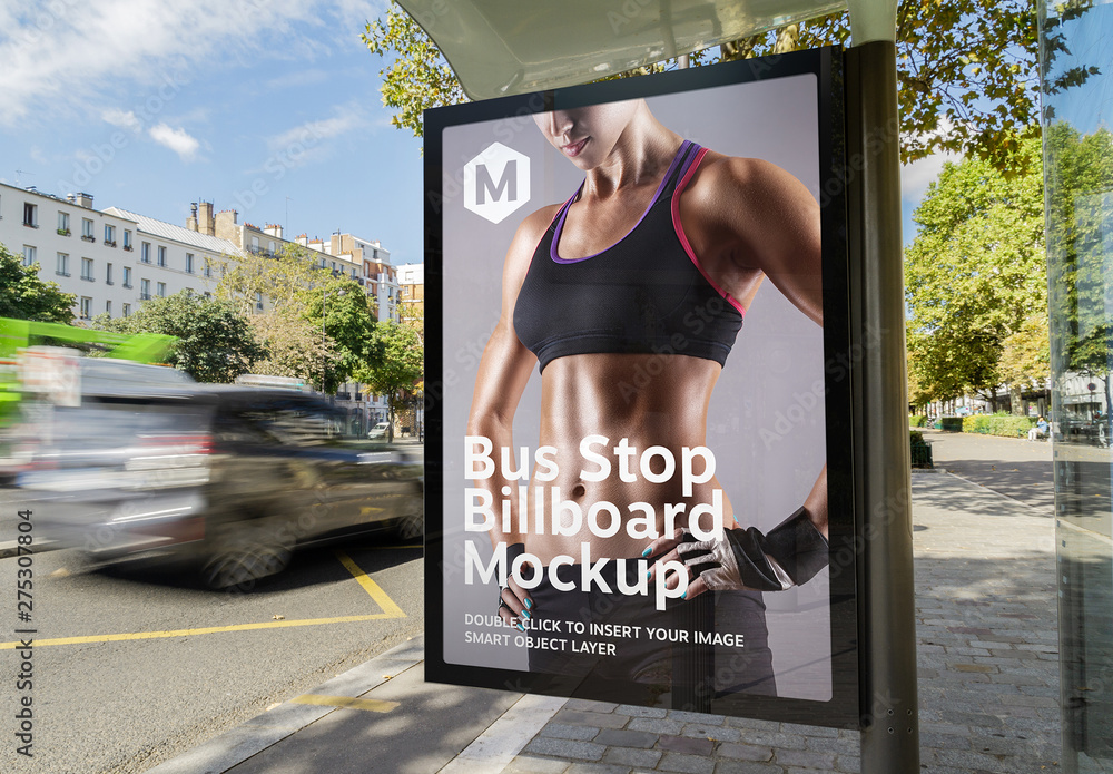 Fototapety, obrazy: Vertical Advertisement in Bus Stop Mockup